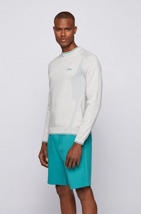Mesh-detail logo sweater in organic cotton, Light Grey