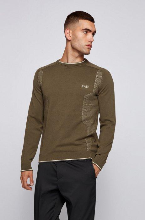 Mesh-detail logo sweater in organic cotton, Dark Green