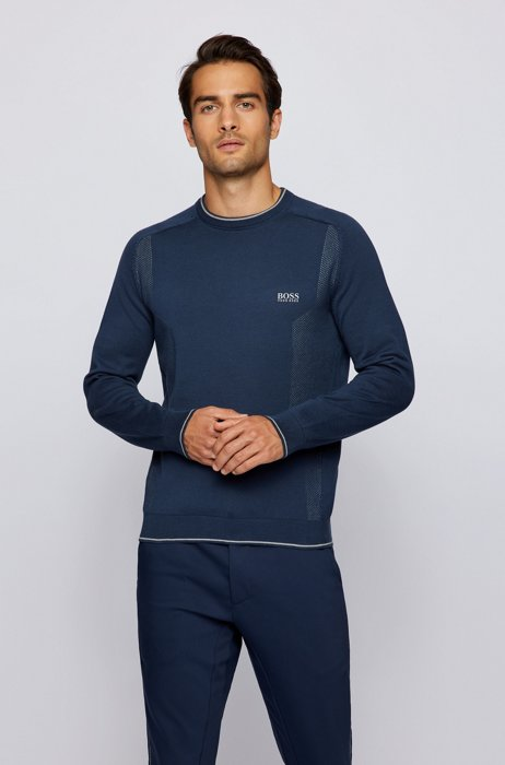 Mesh-detail logo sweater in organic cotton, Dark Blue