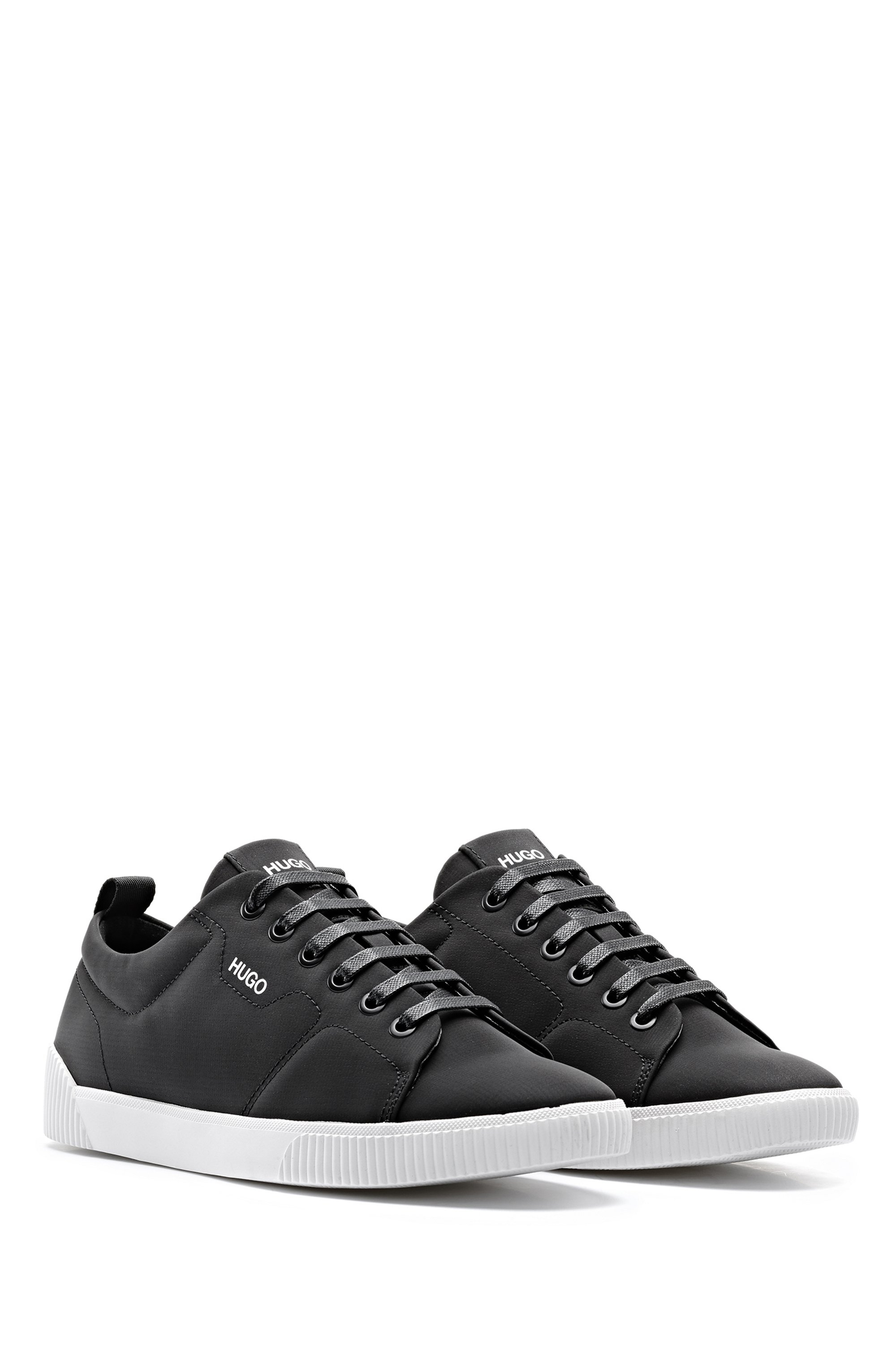 Tennis-style trainers in matte fabric with logo details