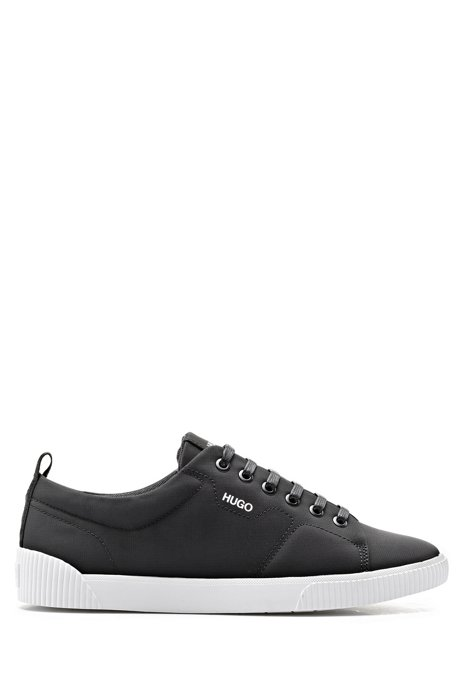 Tennis-style trainers in matte fabric with logo details, Black
