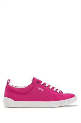 Tennis-style trainers in matte fabric with logo details, Pink
