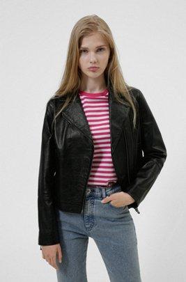 Grained-leather biker jacket in Olivenleder®, Black