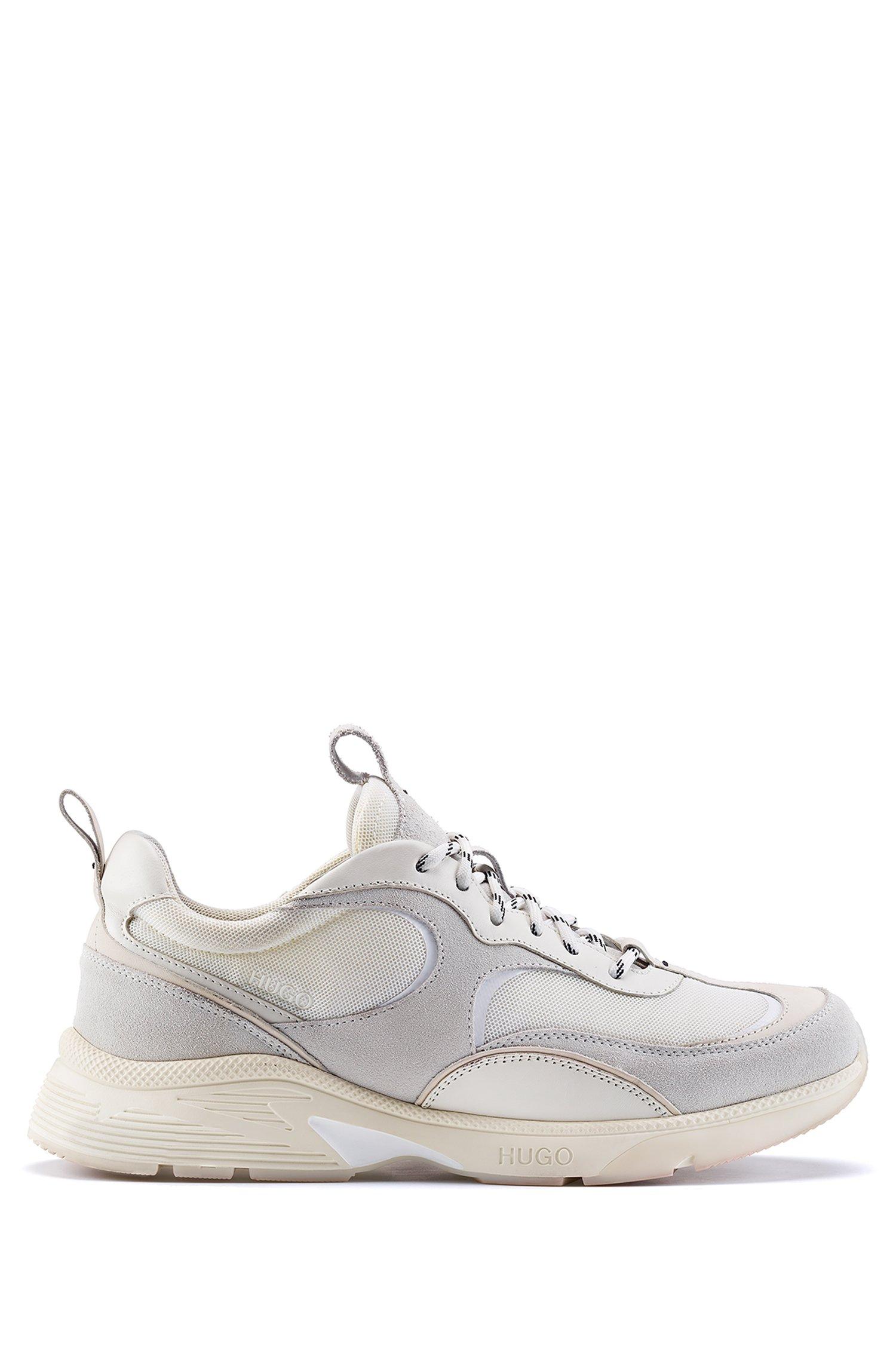 Sneakers stile runner in materiali misti con loghi, Bianco