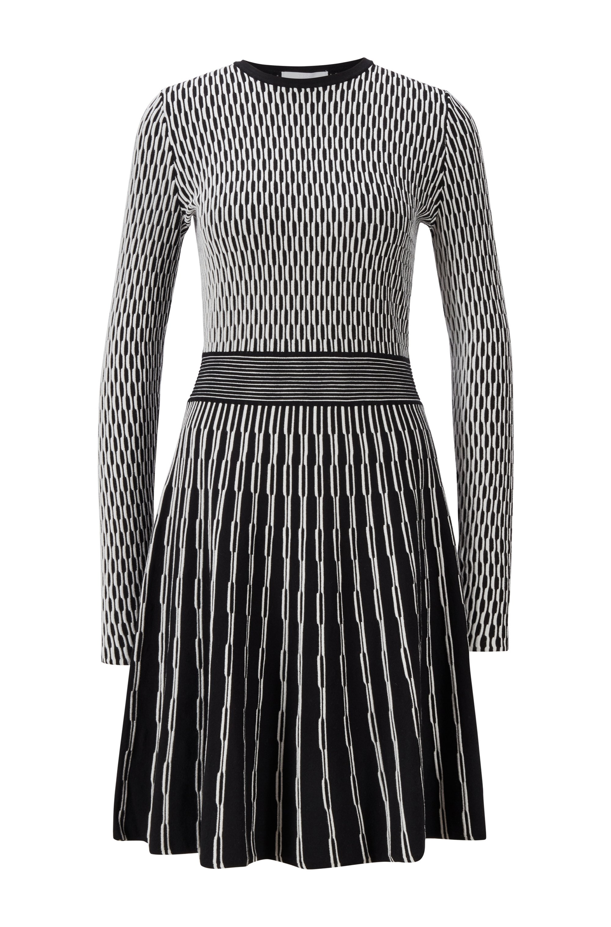 Slim-fit knitted dress with mixed structures, Patterned