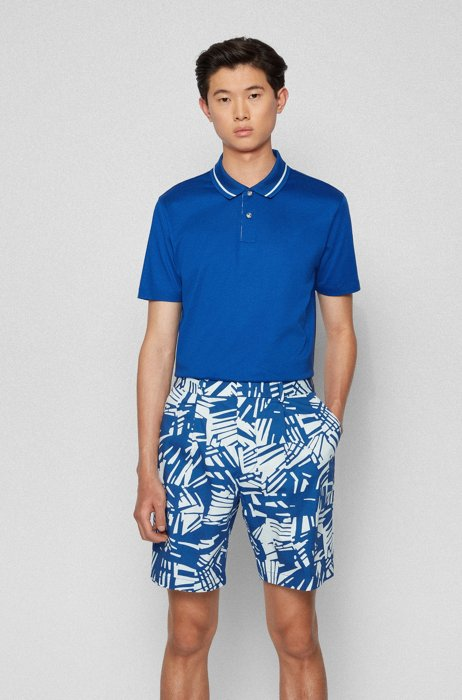 Mercerised-cotton polo shirt with printed underplacket, Blue