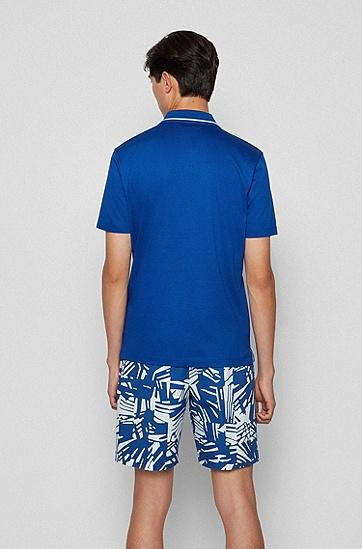 印花底襟丝光棉质 Polo 衫,  428_Medium Blue