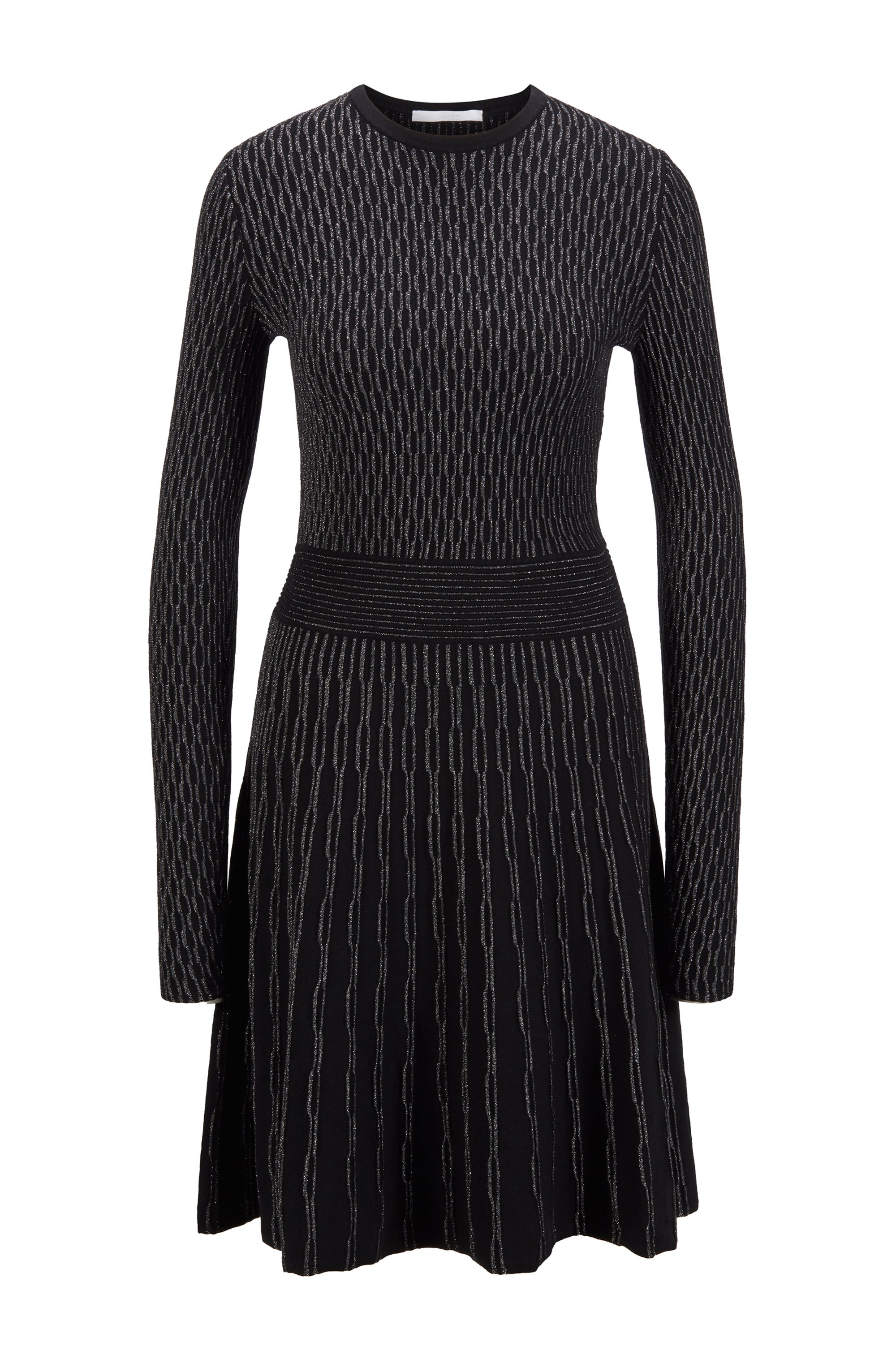Knitted dress in stretch fabric with sparkling yarns, Black