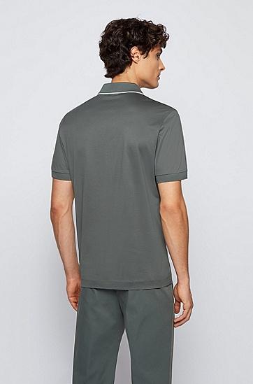 网纹立体丝光棉拉链领 Polo 衫,  301_Dark Green