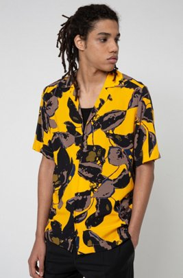 Relaxed-fit shirt with vibrant floral print, Orange Patterned