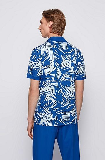 热带风情印花棉质珠地布 Polo 衫,  428_Medium Blue