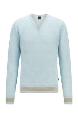 Regular-Fit Pullover aus Hanf-Mix mit V-Ausschnitt, Hellblau