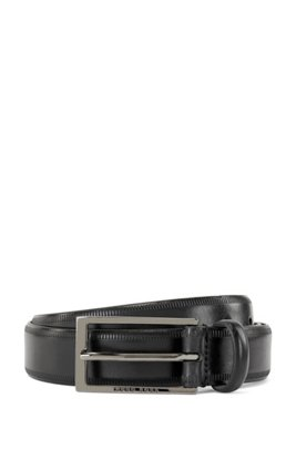 Italian-leather belt with lasered-edge details, Black