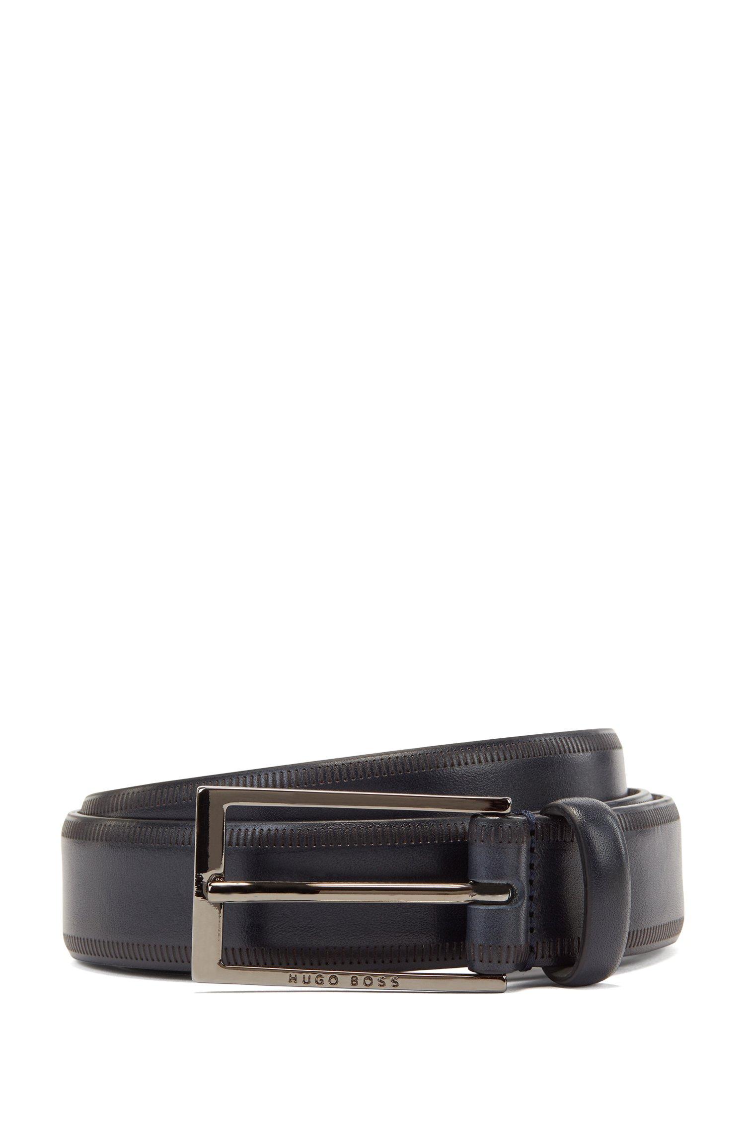Italian-leather belt with lasered-edge details, Dark Blue