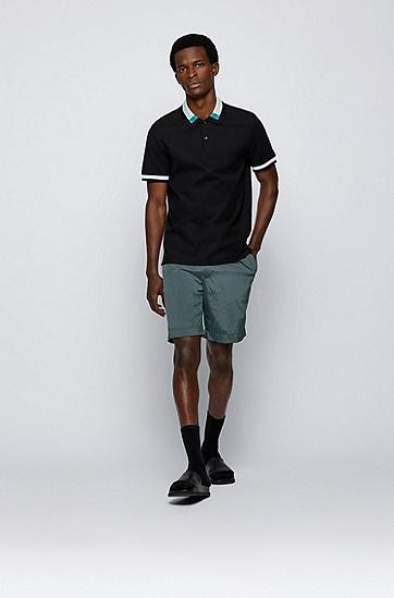 拼色衣领修身 Polo 衫,  001_Black