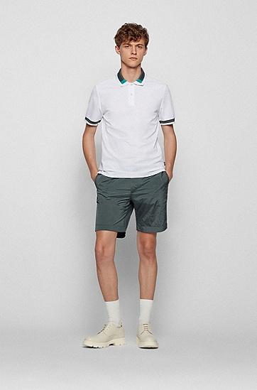 拼色衣领修身 Polo 衫,  100_White