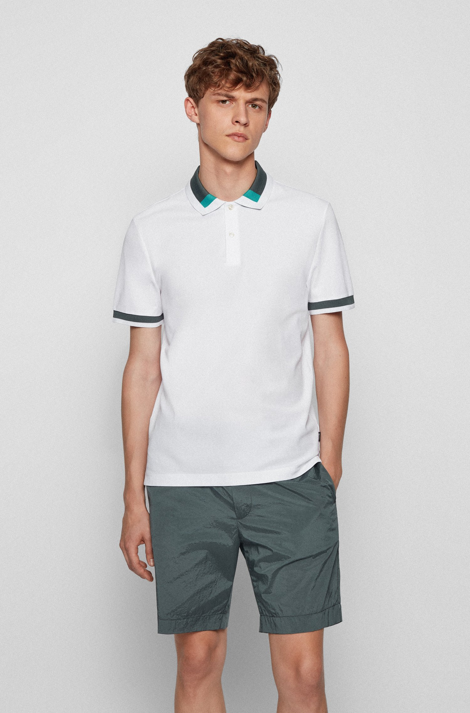 Slim-fit polo shirt with colour-block collar, White