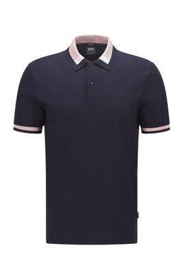 Slim-fit polo shirt with colour-block collar, Dark Blue
