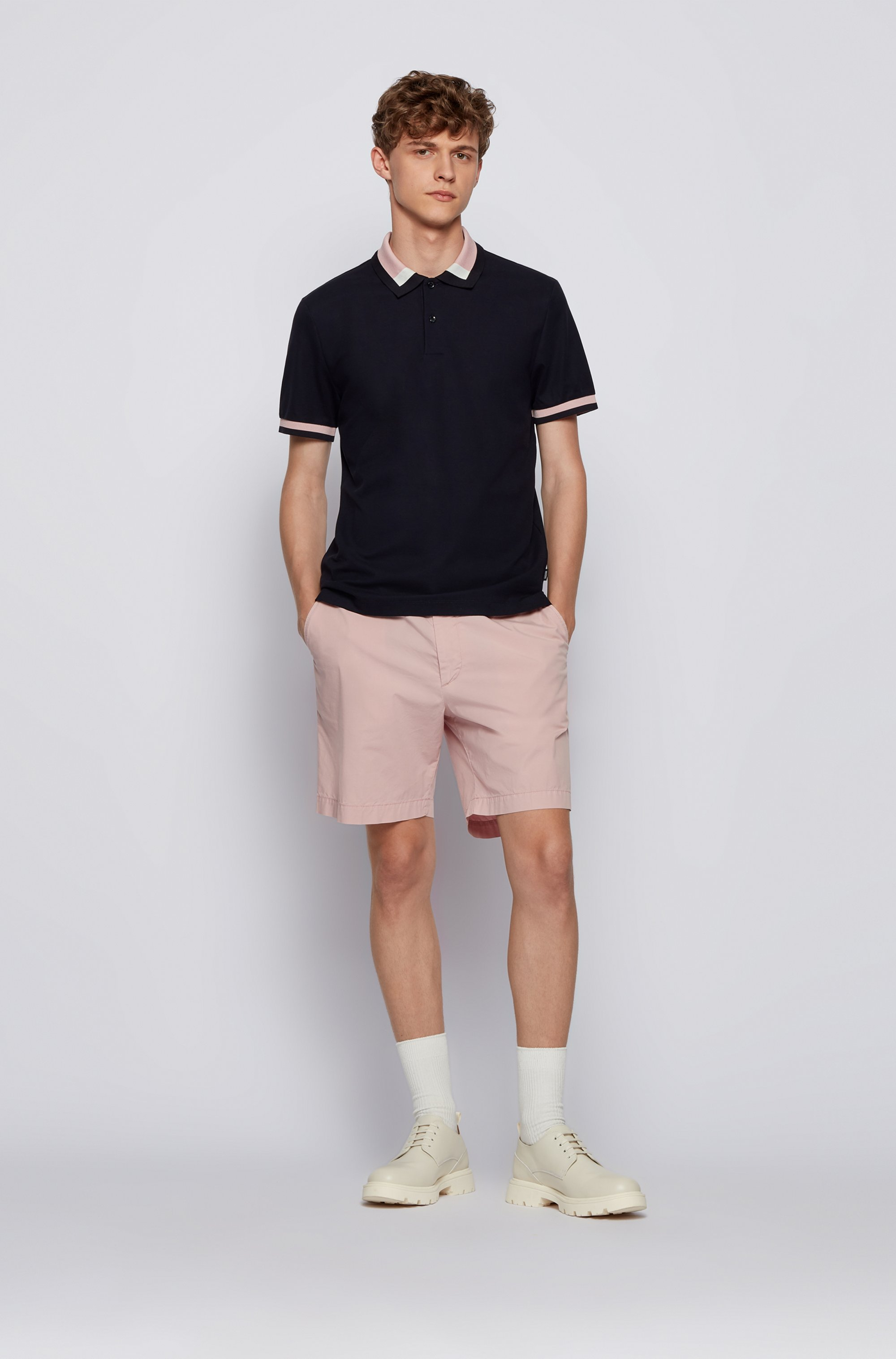 Slim-fit polo shirt with colour-block collar