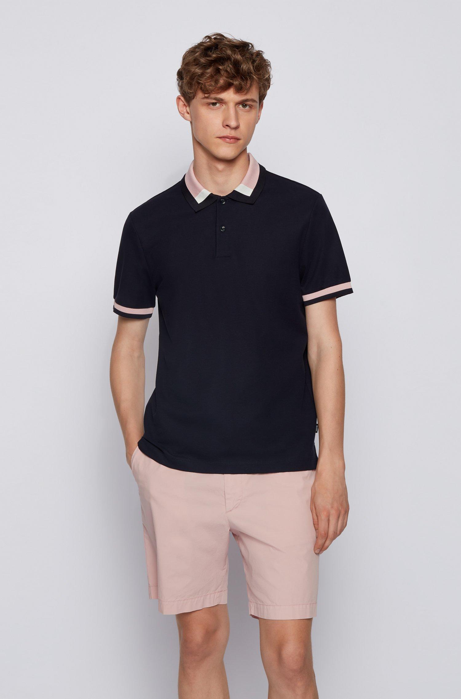 Polo Slim Fit à col color block, Bleu foncé