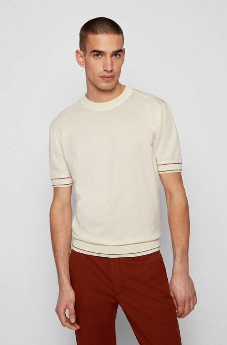 T-shirt-style sweater in mercerised cotton, White