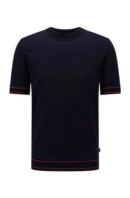Trui in T-shirtstijl van gemerceriseerde katoen, Donkerblauw