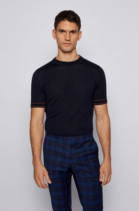 T-shirt-style sweater in mercerised cotton, Dark Blue