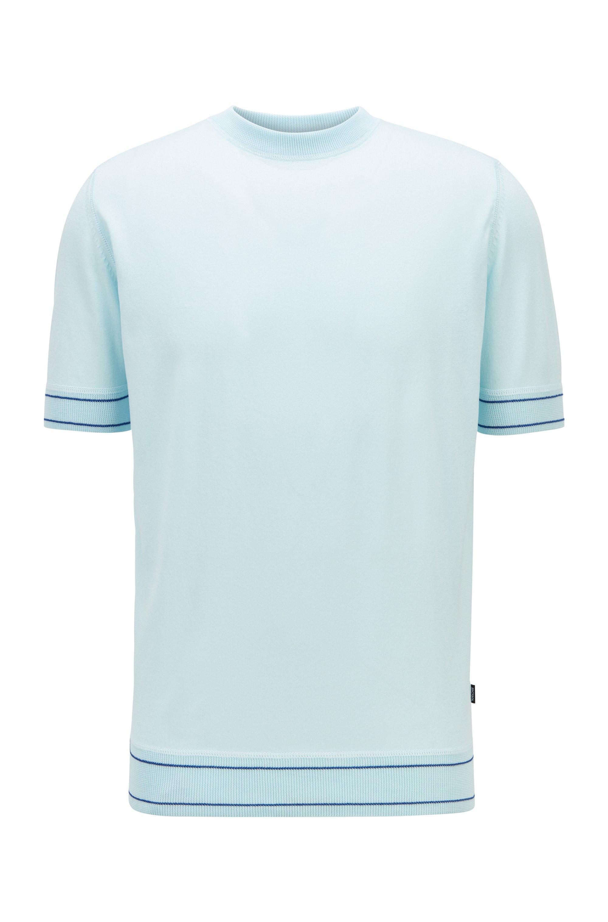 T-shirt-style sweater in mercerised cotton, Light Blue