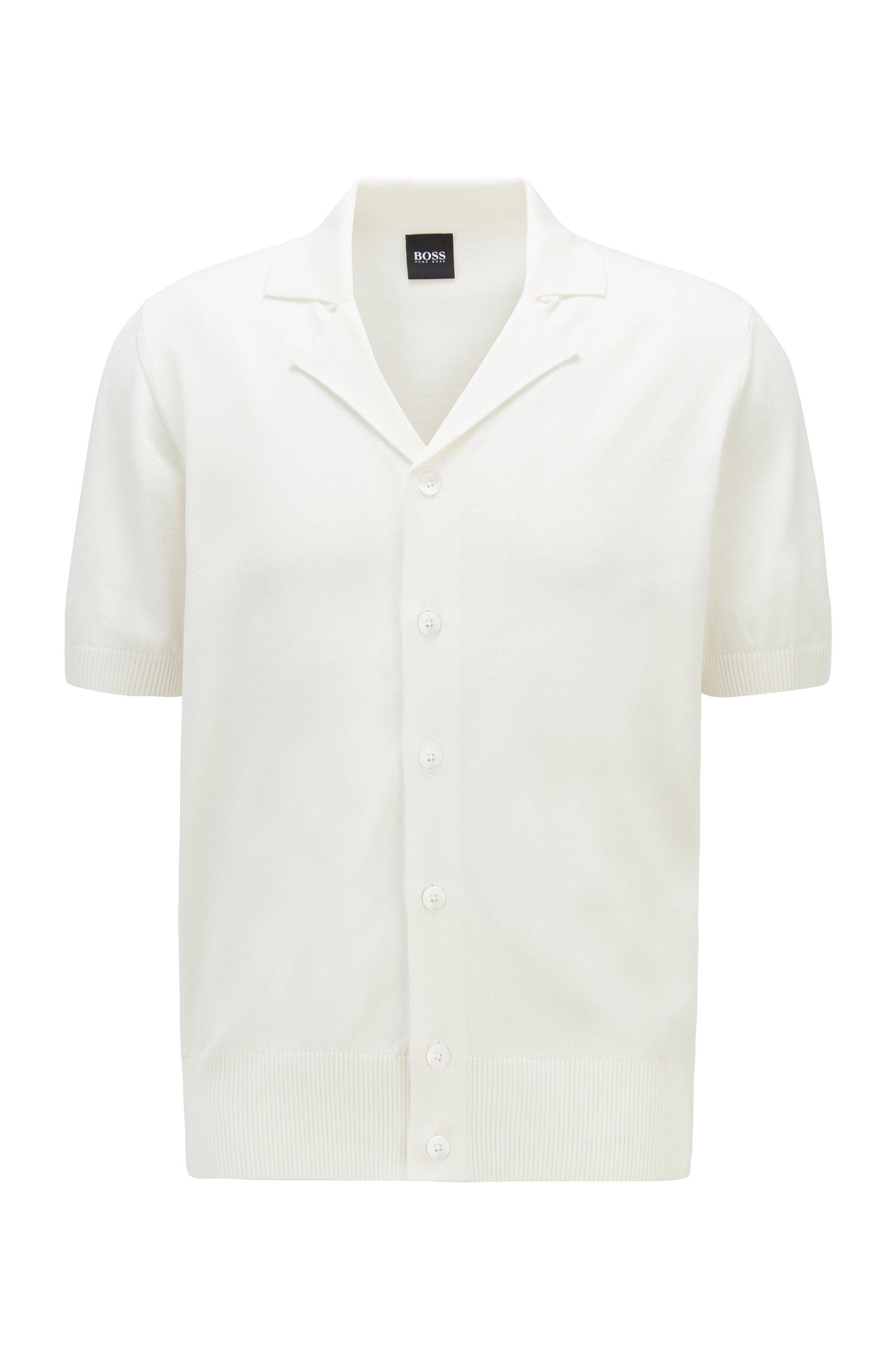 Strickjacke aus merzerisierter Baumwolle mit kurzen Ärmeln, Weiß