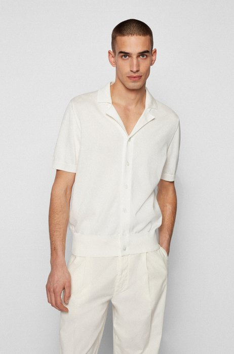 Short-sleeved cardigan knitted in mercerised cotton, White