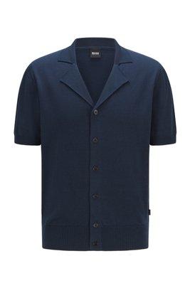Short-sleeved cardigan knitted in mercerised cotton, Dark Blue