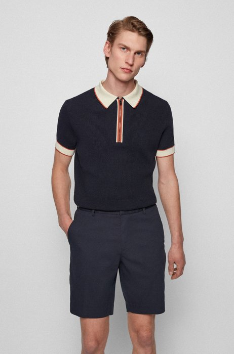 Polo-style sweater in micro-structured cotton, Dark Blue