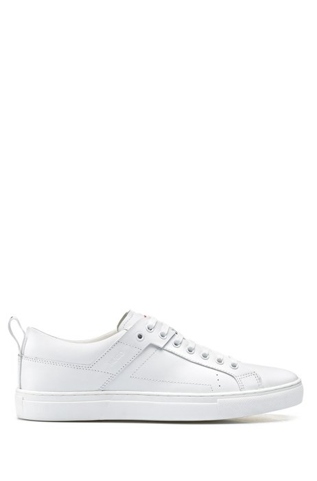 Lace-up trainers in leather with logo pull-loop, White