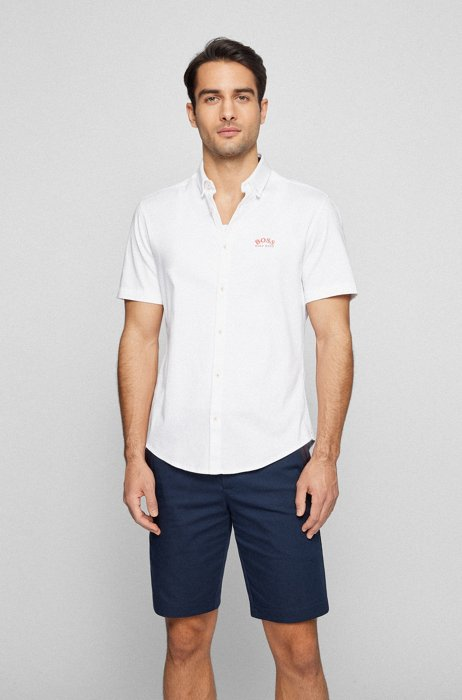 Short-sleeved regular-fit shirt with curved logo, White