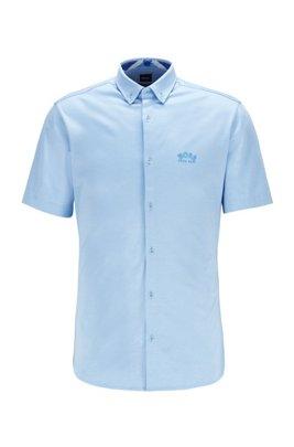 Regular-Fit Kurzarm-Hemd mit geschwungenem Logo, Blau