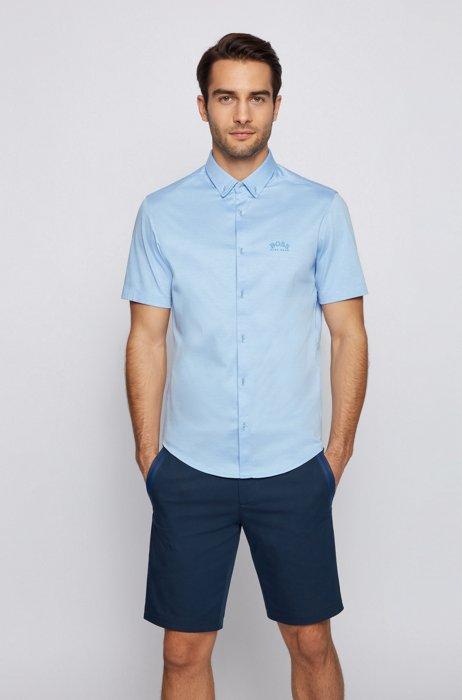 Short-sleeved regular-fit shirt with curved logo, Blue