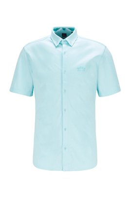 Regular-Fit Kurzarm-Hemd mit geschwungenem Logo, Hellblau