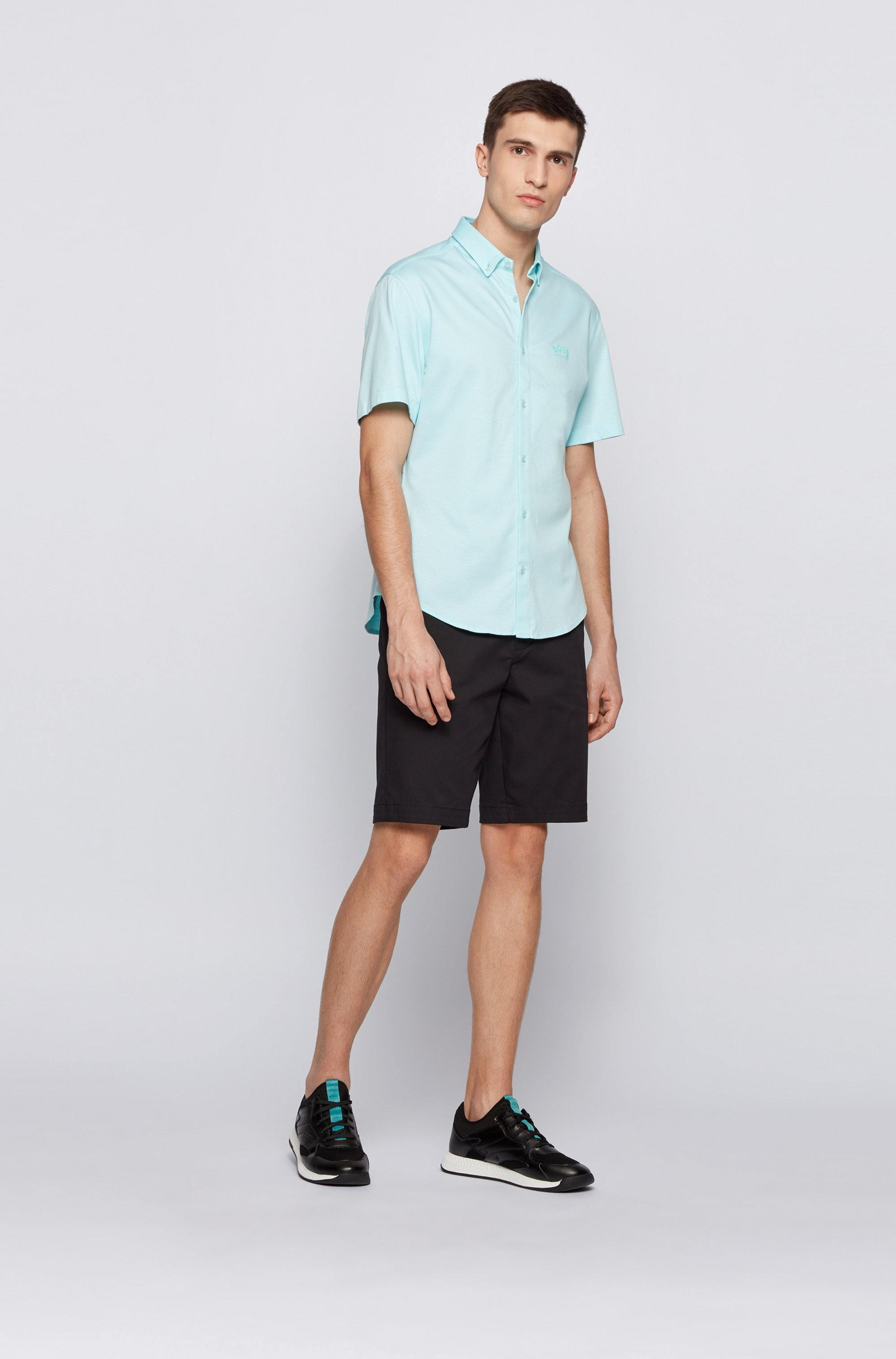 Short-sleeved regular-fit shirt with curved logo