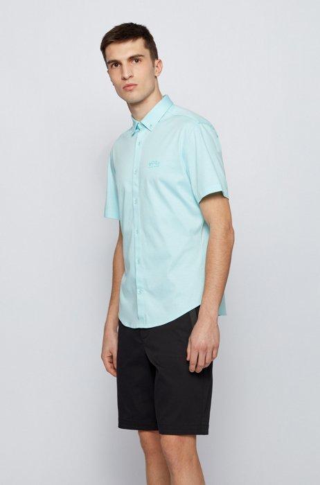 Short-sleeved regular-fit shirt with curved logo, Light Blue