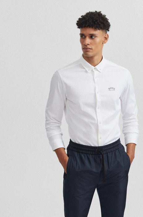 Long-sleeved regular-fit shirt with curved logo, White