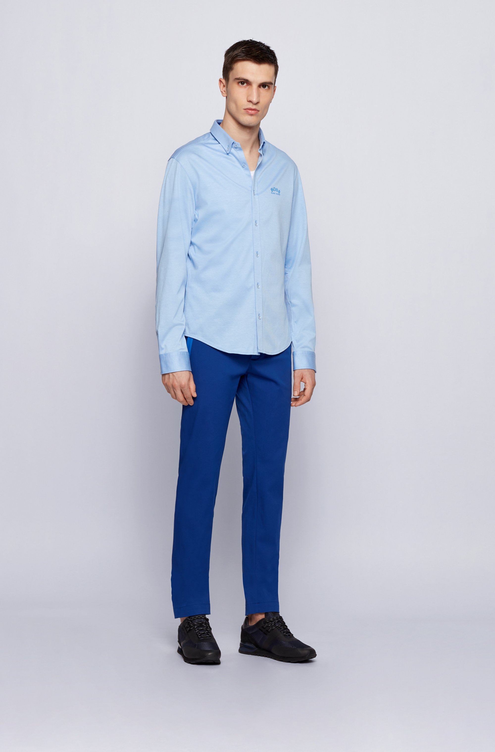 Long-sleeved regular-fit shirt with curved logo