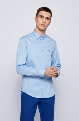 Long-sleeved regular-fit shirt with curved logo, Blue