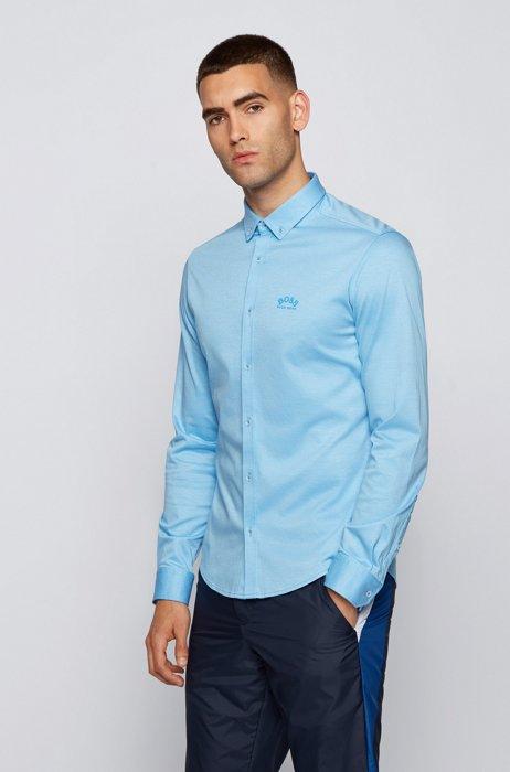 Long-sleeved regular-fit shirt with curved logo, Light Blue