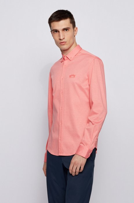 Long-sleeved regular-fit shirt with curved logo, Light Red
