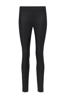 High-waisted slim-fit trousers in stretch twill, Black