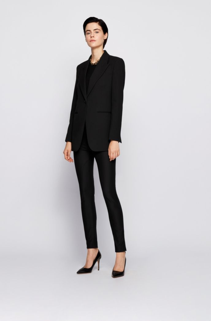 High-waisted slim-fit trousers in stretch twill
