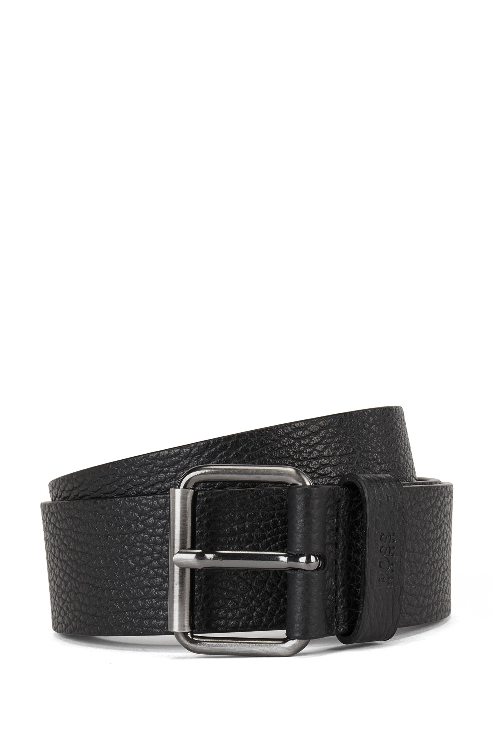 Grained Italian-leather belt with roller buckle, Black