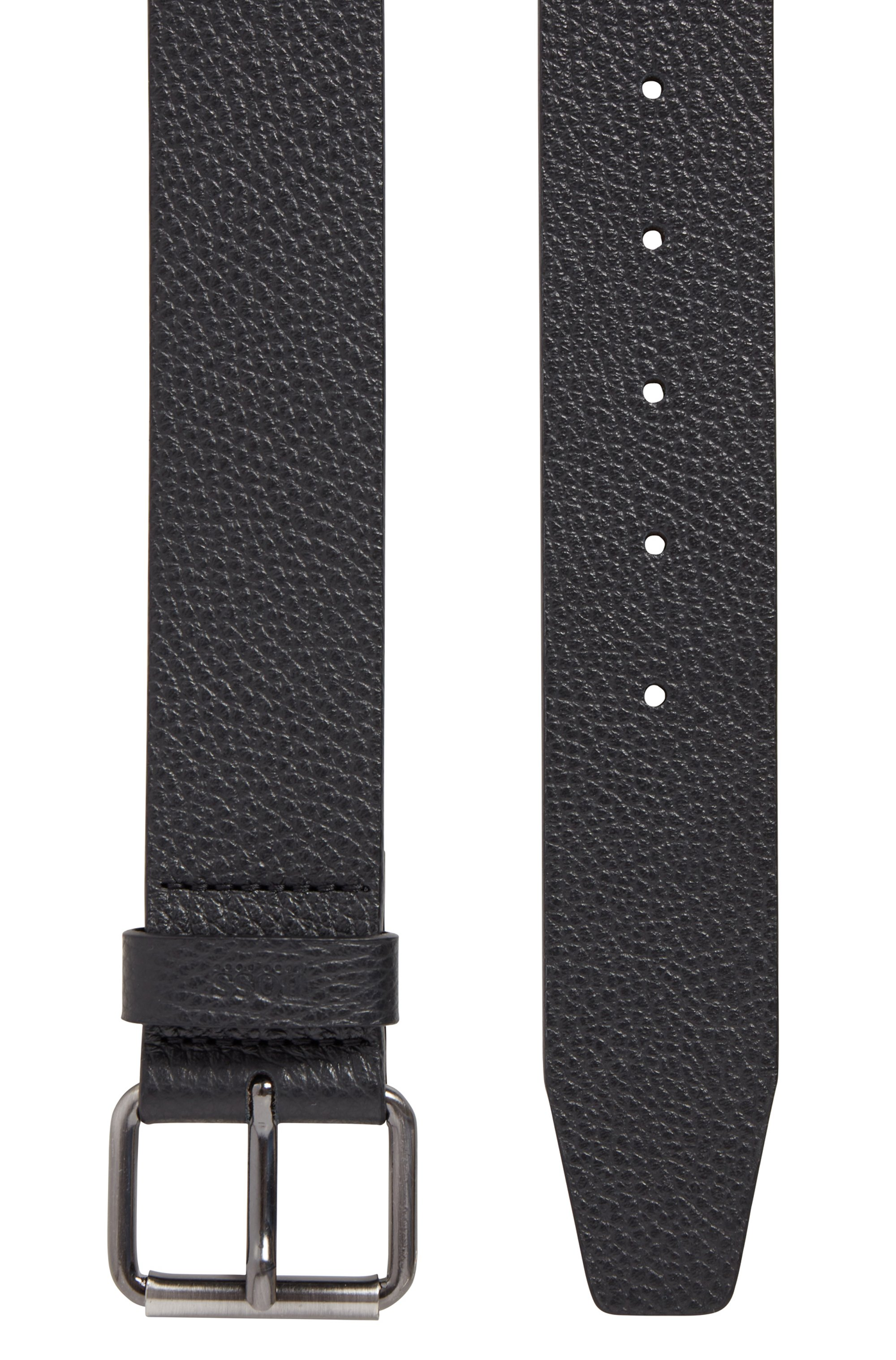 Grained Italian-leather belt with roller buckle