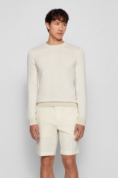 Slim-fit sweater in cotton with rolled-edge collar, Light Beige