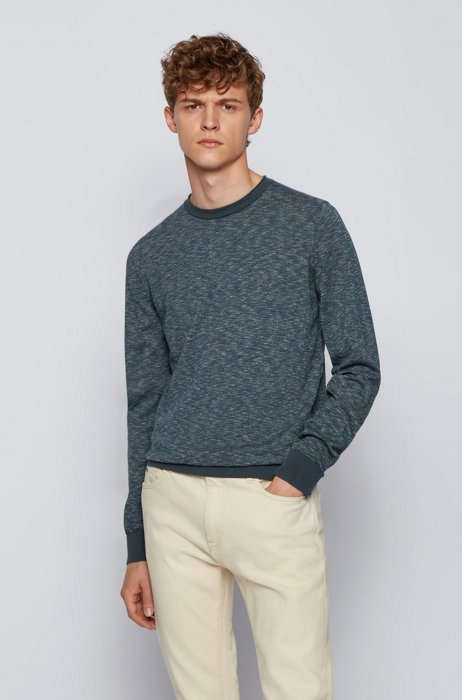 Slim-fit sweater in cotton with rolled-edge collar, Dark Green
